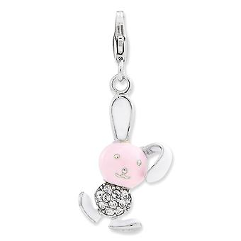 925 Sterling Silver Rhodium plaqué Fancy Lobster Closure Enameled 3-d Bunny With Lobster Clasp Charm