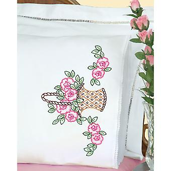 Stamped Pillowcases With White Lace Edge 2 Pkg Basket Of Flowers 1800 485