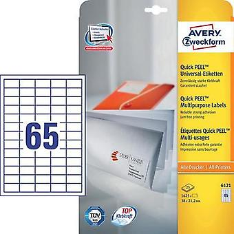 Avery-Zweckform 6121 Labels (A4) 38 x 21.2 mm Paper White 1625 pc(s) Permanent All-purpose labels Inkjet, Laser, Copier
