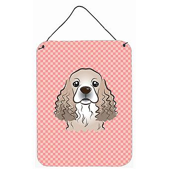 Checkerboard Pink Cocker Spaniel Wall or Door Hanging Prints BB1216DS1216