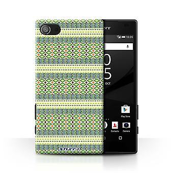 STUFF4 Tilfelle/Cover for Sony Xperia Z5 Compact/4.6/Green/Aztec Tribal mønster