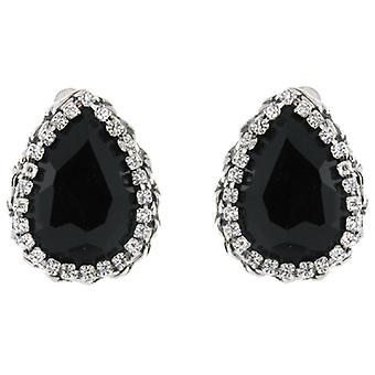 Clip On Earrings Store Large Jet Black & Clear Crystal Droplet Clip on Earrings