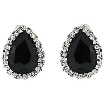 Clip op oorbellen Store grote Jet Black & duidelijk Crystal Droplet Clip op oorbellen