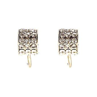 Clip On Earrings Store Silver Plated & Swarovski Crystal Semi Hoop Clip On Earrings