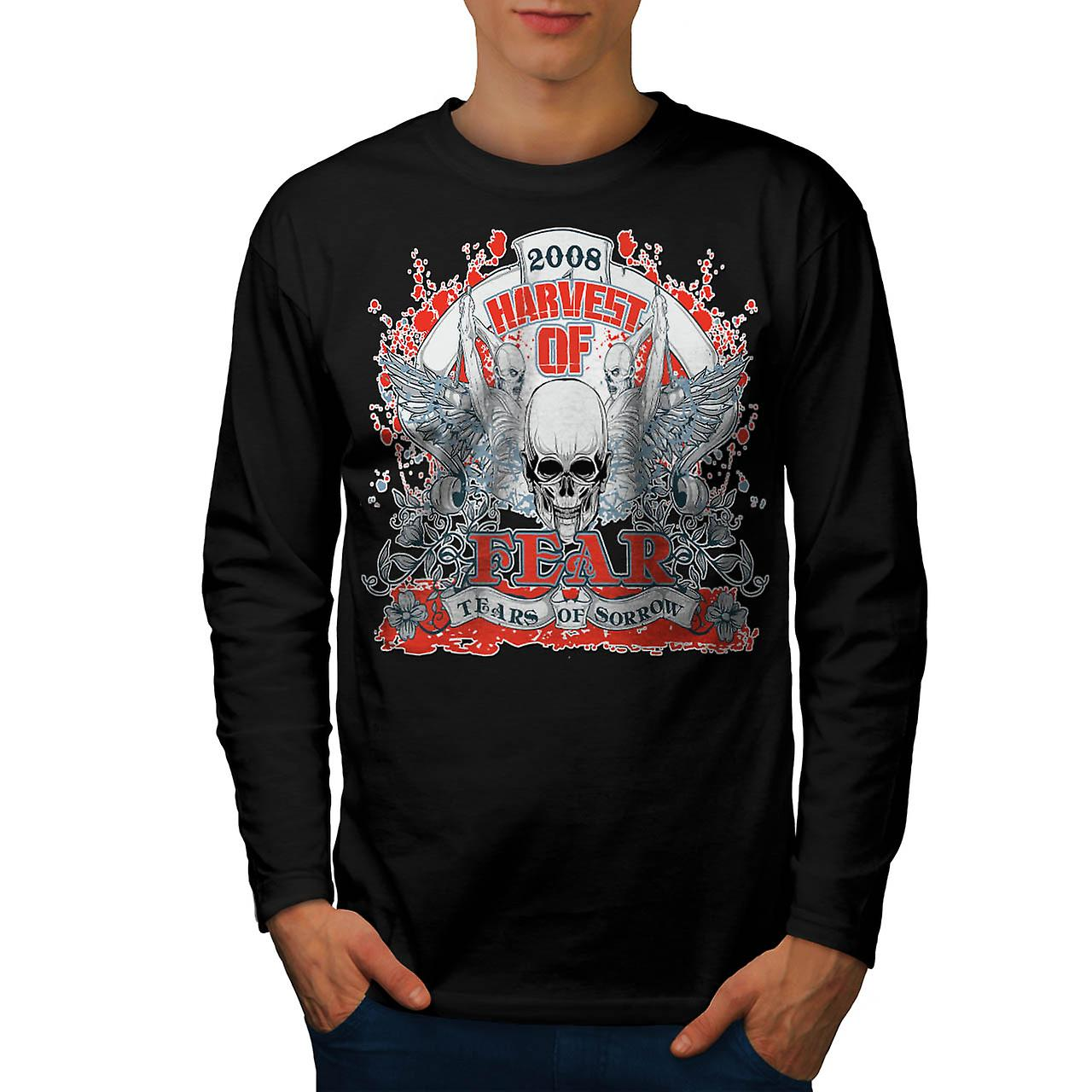 Harvest Of Fear Skull Tears Wing Men Black Long Sleeve T-shirt | Wellcoda