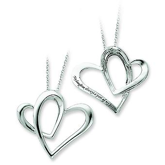 Sterling Silver Polished Antiqued Gift Boxed Spring Ring Rhodium-plated Heart Necklace - 18 Inch