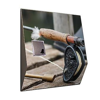Wireless doorbell with motif: fly fishing - V2A stainless steel wireless