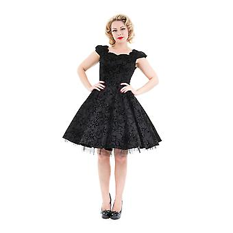 Hearts And Roses Womens Black Flocked Evening Swing Dress Rockabilly Nautical