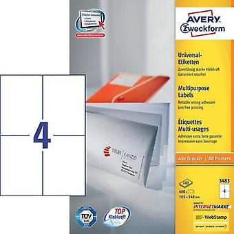 Avery-Zweckform 3483 Labels (A4) 105 x 148 mm Paper White 400 pc(s) Permanent All-purpose labels Inkjet, Laser, Copier