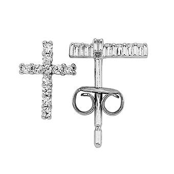 Burgmeister women's stud earring cross JBM2018-211, 925 sterling silver rhodanized, white zirconia