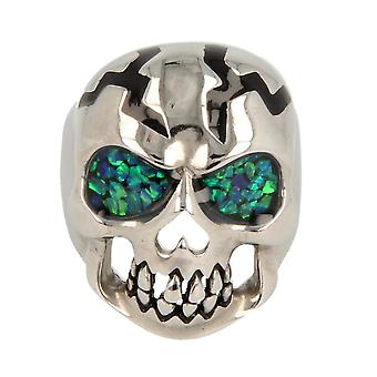 Majestic goods solid skull finger ring enamel & Opalinlay gloss finish