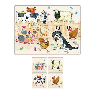 I Style Farmyard Placemats & Coasters, Set of 4