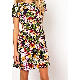 ASOS Skater Dress In Bright Pansy Print