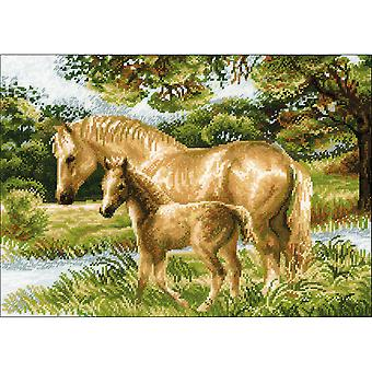Horse With Foal Counted Cross Stitch Kit-15.75