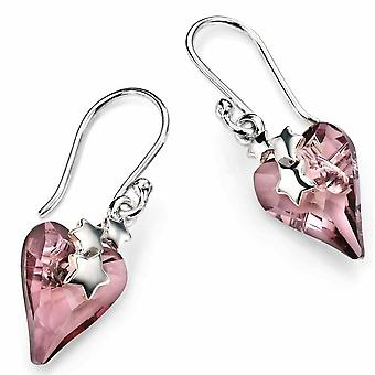 925 Silver Swarovski Crystal Heart And Stars Earring
