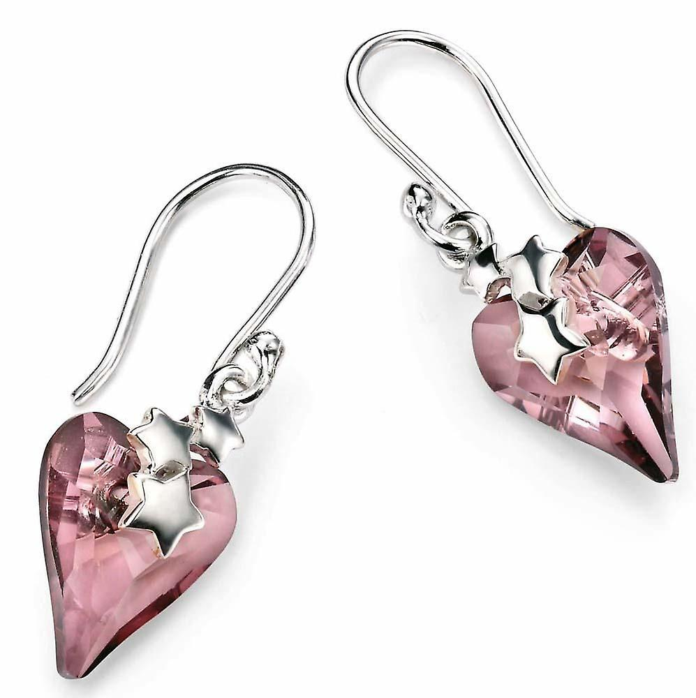 925 argent Swarovski Crystal Heart And Stars Earring