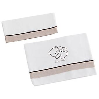 Naf Naf Crib Sheets 100% Cotton Embroidery Beige Dreams