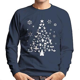 Pokemon juletræ silhuet hvide mænds Sweatshirt