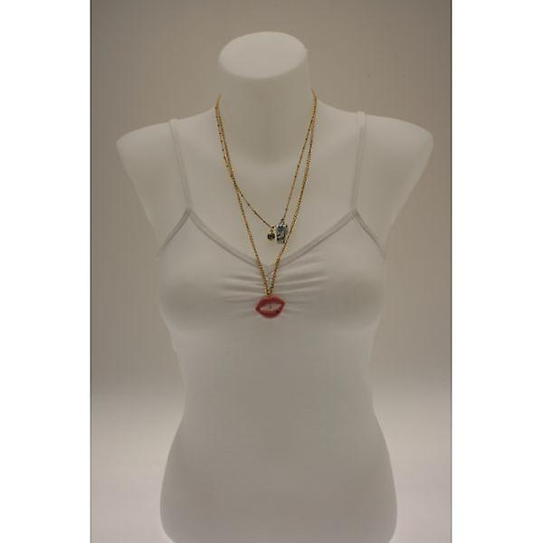 W.A.T Layered Lips And Whistle Charm Necklace