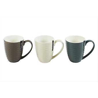 New Bone China Mugs Set of 3 Embossed Rattan Design Tea Coffee Home Office Cup