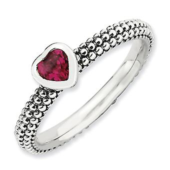 2.25mm Sterling Silver Stackable Expressions Polished Created R Heart Ring - Ring Size: 5 to 10