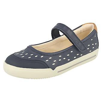Girls Clarks Cross Strap Flat Shoes Lil Folk Lou