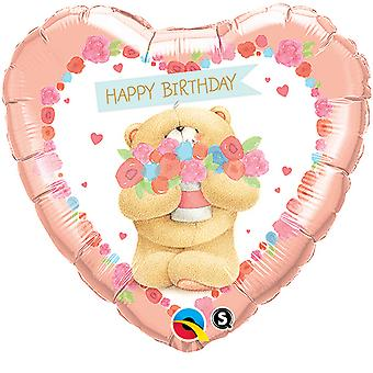 Qualatex Forever Friends Heart Shaped Happy Birthday Bear Foil Balloon