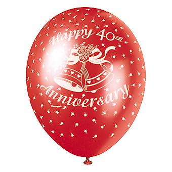 Unique Party 12 Inch 40th Anniversary Latex Balloon