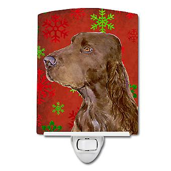 Field Spaniel Red and Green Snowflakes Holiday Christmas Ceramic Night Light