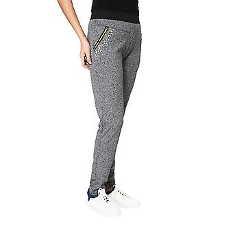Martildo, Grey Marl Relaxed Trousers With Zip And Studs Detail Grey XL/XXL