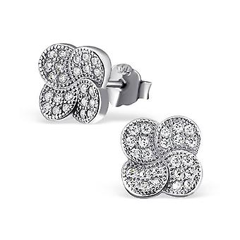 Micro Pavé Setting Flower - 925 Sterling Silver Cubic Zirconia Ear Studs - W21311X