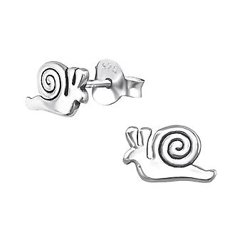 Snail - 925 Sterling Silver Plain Ear Studs