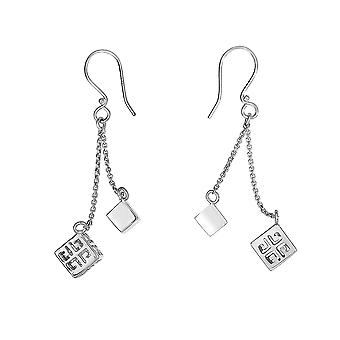 Sterling Silber erweiterbar 16 + 2 Zoll Designer Halskette und Ohrringe Set mit griechischen entwickelt Cube