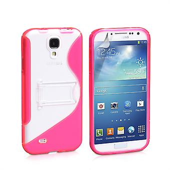 Gel de silicona Samsung Galaxy S4 Stand Case - color de rosa caliente
