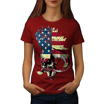 USA Flag Metal Punk Skull Women RedT-shirt | Wellcoda