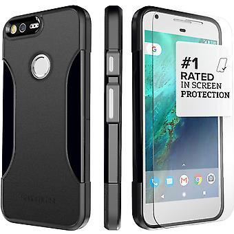 SaharaCase® Google Pixel XL Black Case, Classic Protection Kit with ZeroDamage Tempered Glass