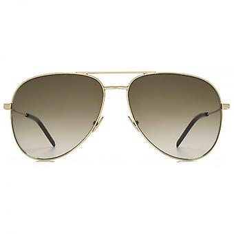 Saint Laurent Classic 11 Pilot Sunglasses In Gold Brown