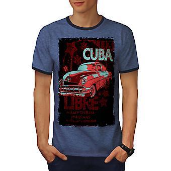 Cuba Libre rivoluzione uomo Heather Blue / NavyRinger t-shirt | Wellcoda