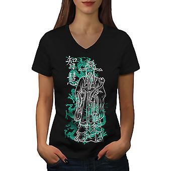 Cool Japon femmes Fantasy Roi BlackV-Neck T-shirt | Wellcoda