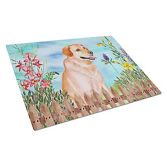 Labrador Retriever Spring Glass Cutting Board Large
