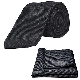 Berlinerblått & grå Sharkskin slips & Pocket Square Set