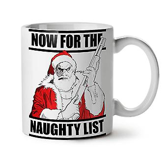 Té blanco nuevo travieso Santa taza de café de cerámica 11 oz | Wellcoda