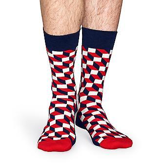 Calcetines Happy lleno de calcetines ópticas - rojo