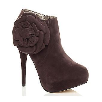 Ajvani kvinners høy hæl plattform zip blomst ankel sokker sko støvler
