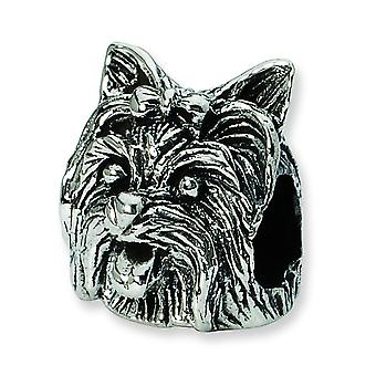 Sterling Silver Polished Antique finish Reflections Yorkshire Terrier Head Bead Charm