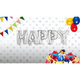 Foil balloon of set HAPPY writing 5 individual balloons silver about 36 cm
