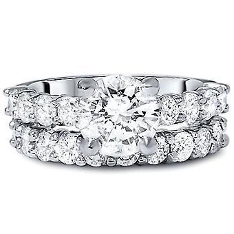 تعزيز 5 قيراط الماس الخلود الاشتباك خاتم الزواج ك 14 مجموعة الذهب الأبيض