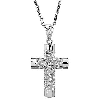 Burgmeister chain and pendant JBM1037-311, 925 sterling silver, cross pendant white zirconia