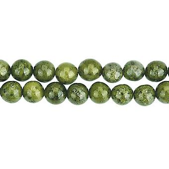 Strand 40+ Dark Green Serpentine 8mm Plain Round Beads GS8280-3