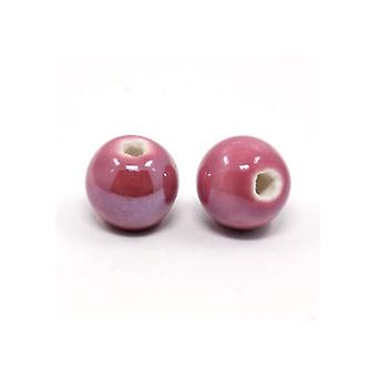 Paquet 10 x terne porcelaine rose 8mm Pearlised perles rondes lisses HA27240